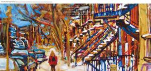 Snow Hockey And Local Shops Charming Montreal Street Scenes By Carole Spandau